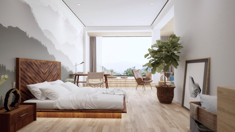 复式民宿装修卧室床头墙图片