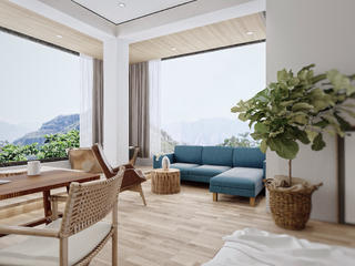复式民宿装修卧室休闲区设计
