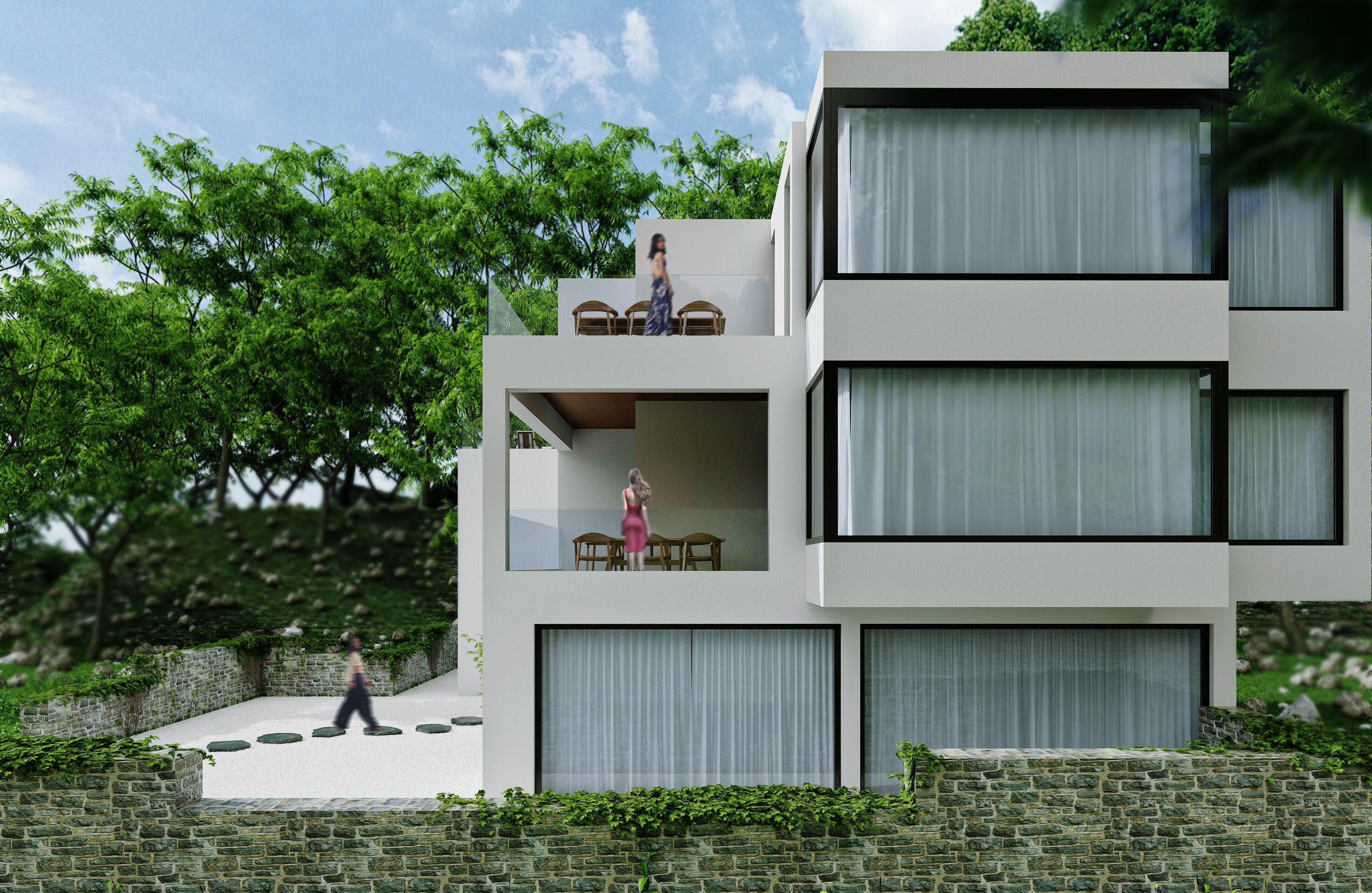 豪华民宿装修建筑侧面外观图片