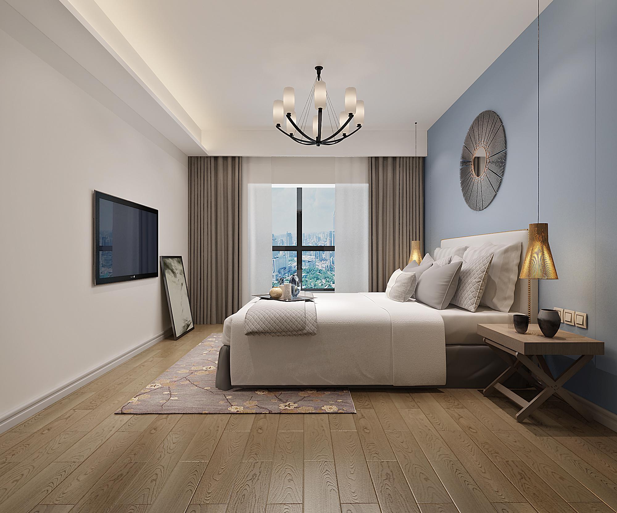 三居室简约风格家装修卧室效果图