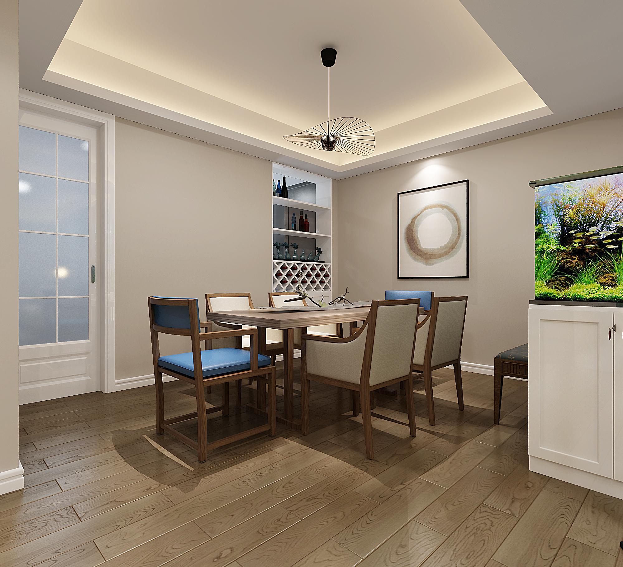 三居室简约风格家装修餐厅效果图