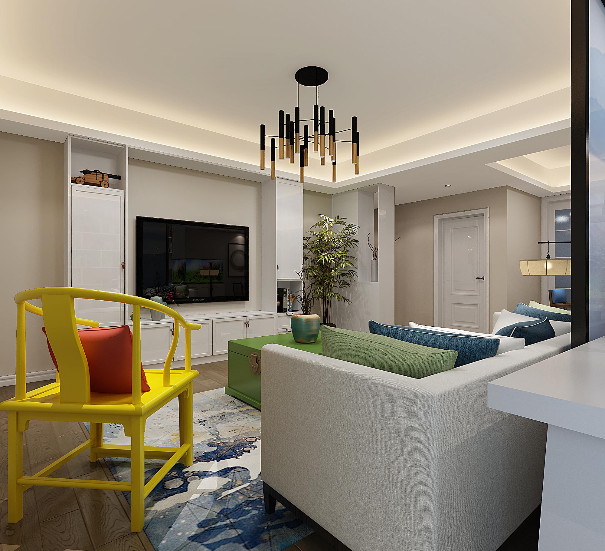 三居室简约风格家装修客厅效果图