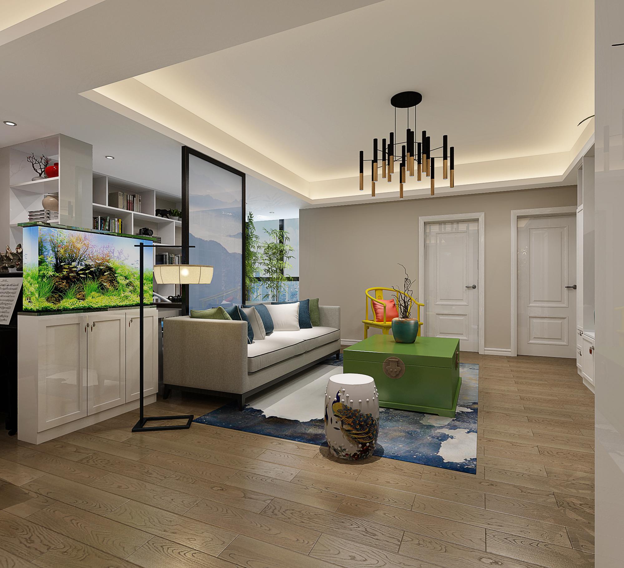 三居室简约风格家装修客厅局部吊顶