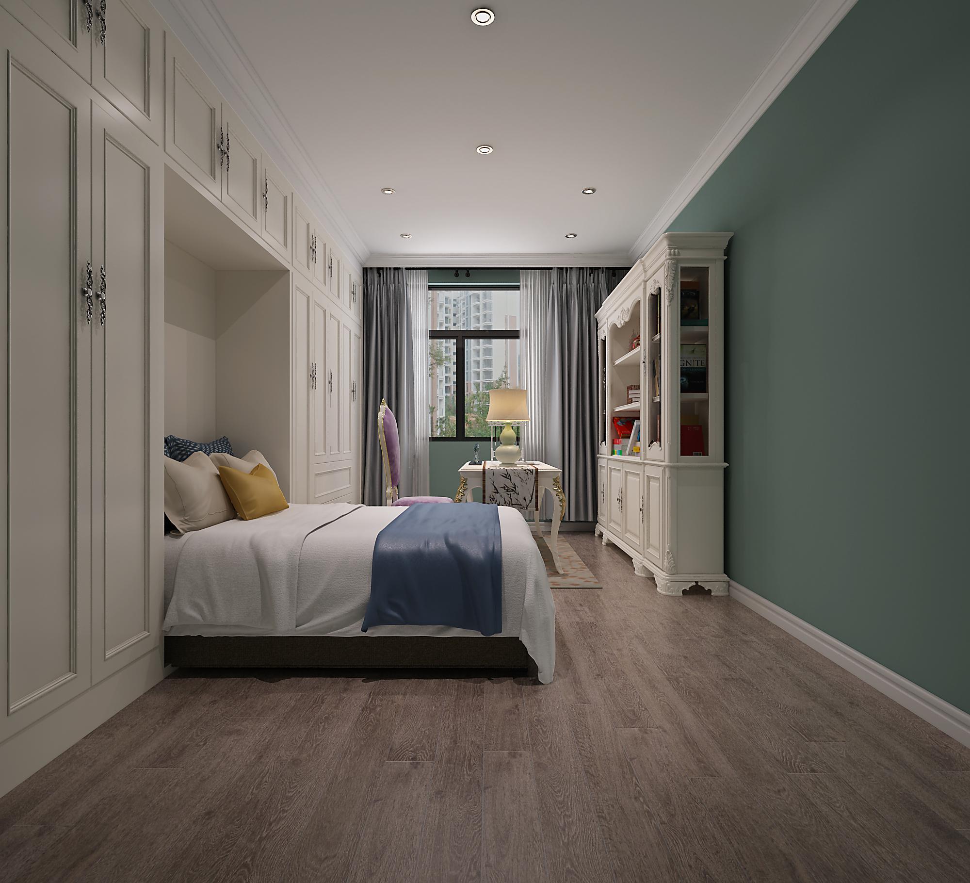120平混搭装修书房隐藏壁床设计