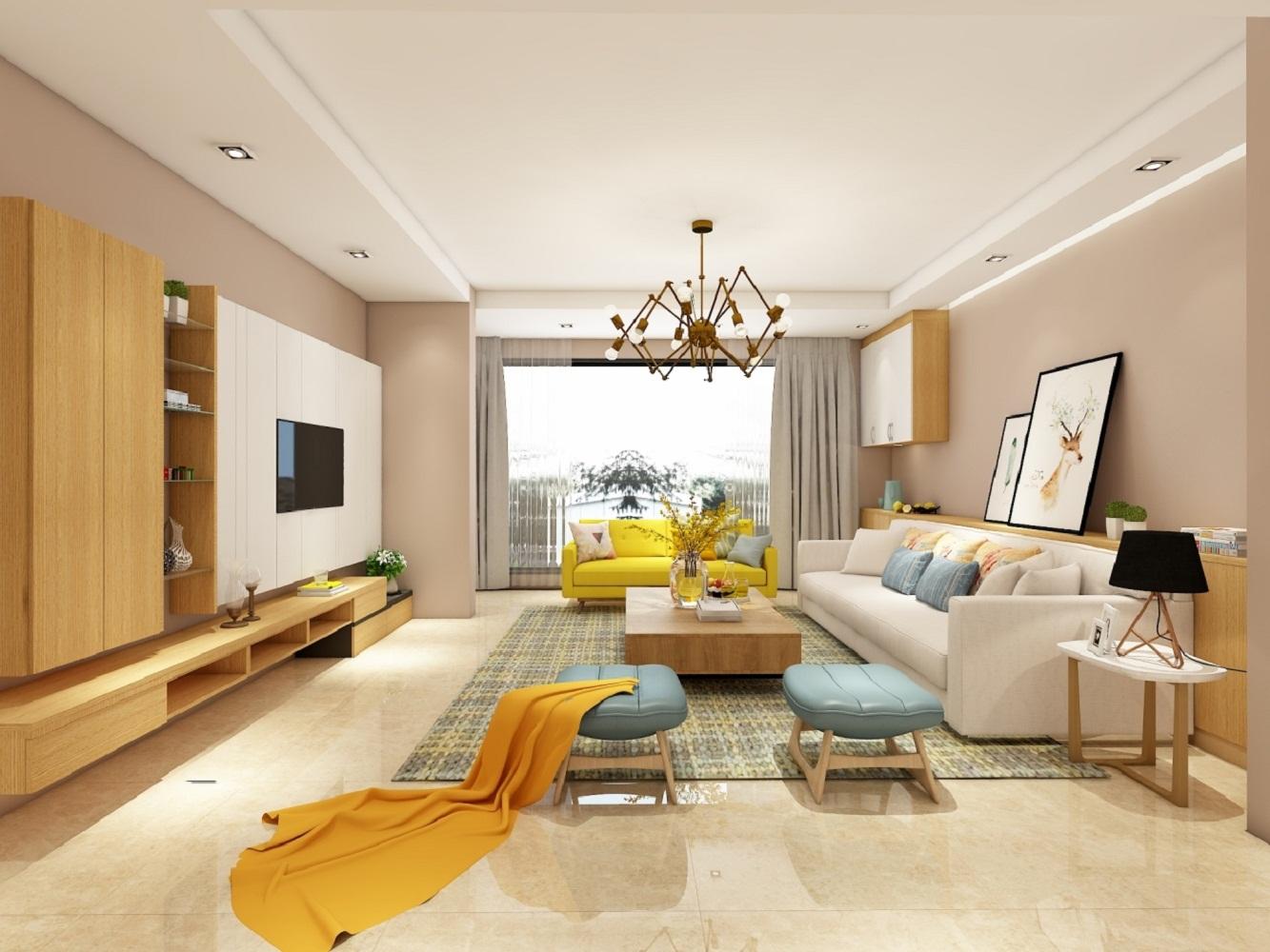 北欧三居室设计客厅效果图