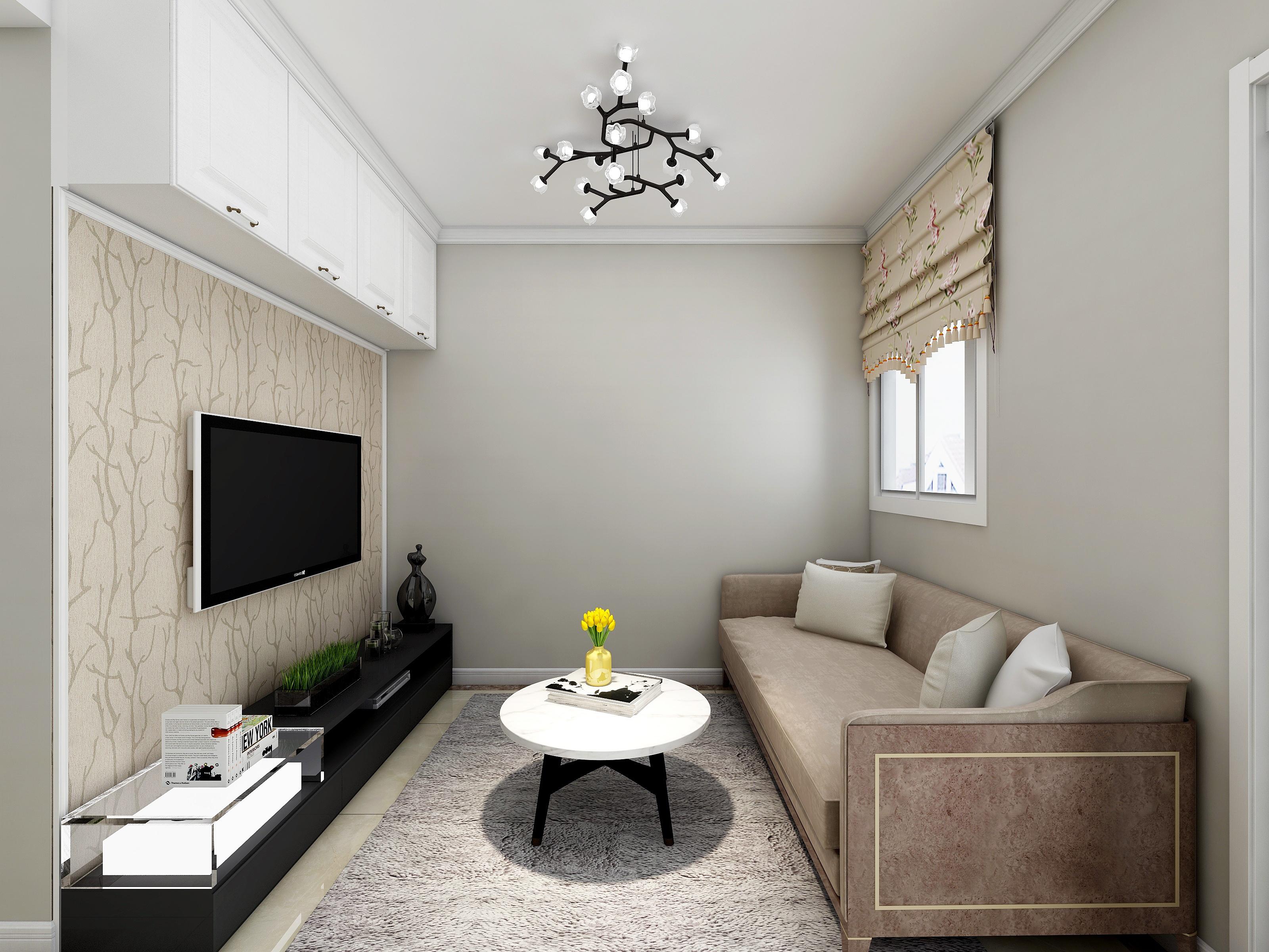60平简约二居装修客厅效果图