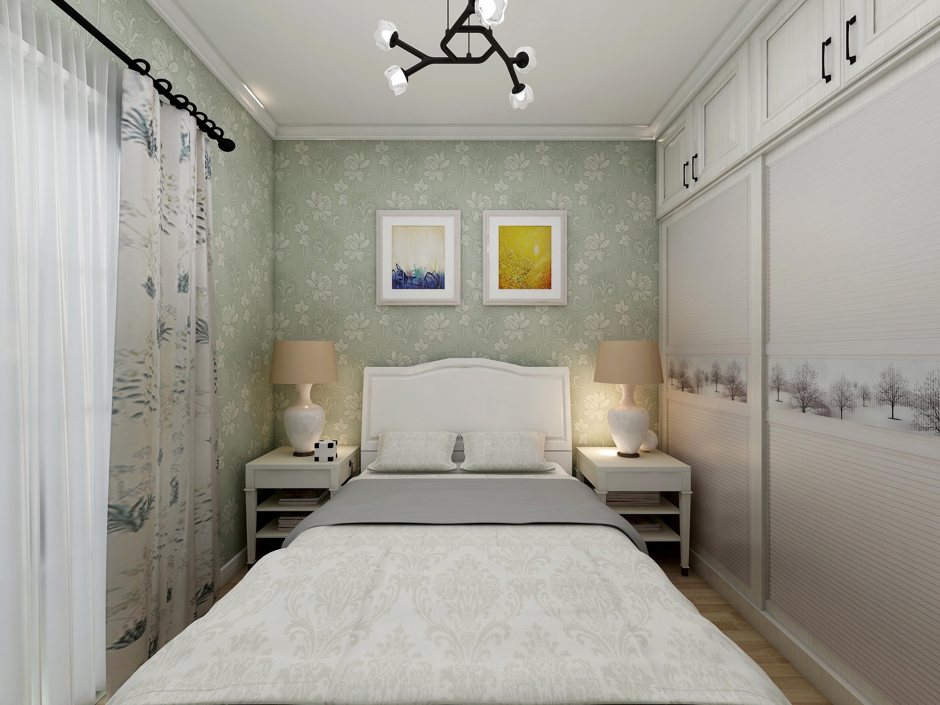 60平简约二居装修床头背景墙图片
