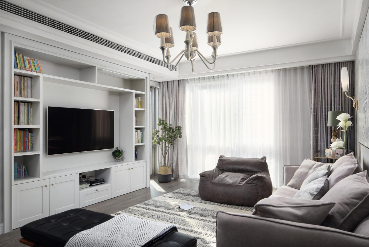 130㎡现代美式装修客厅效果图