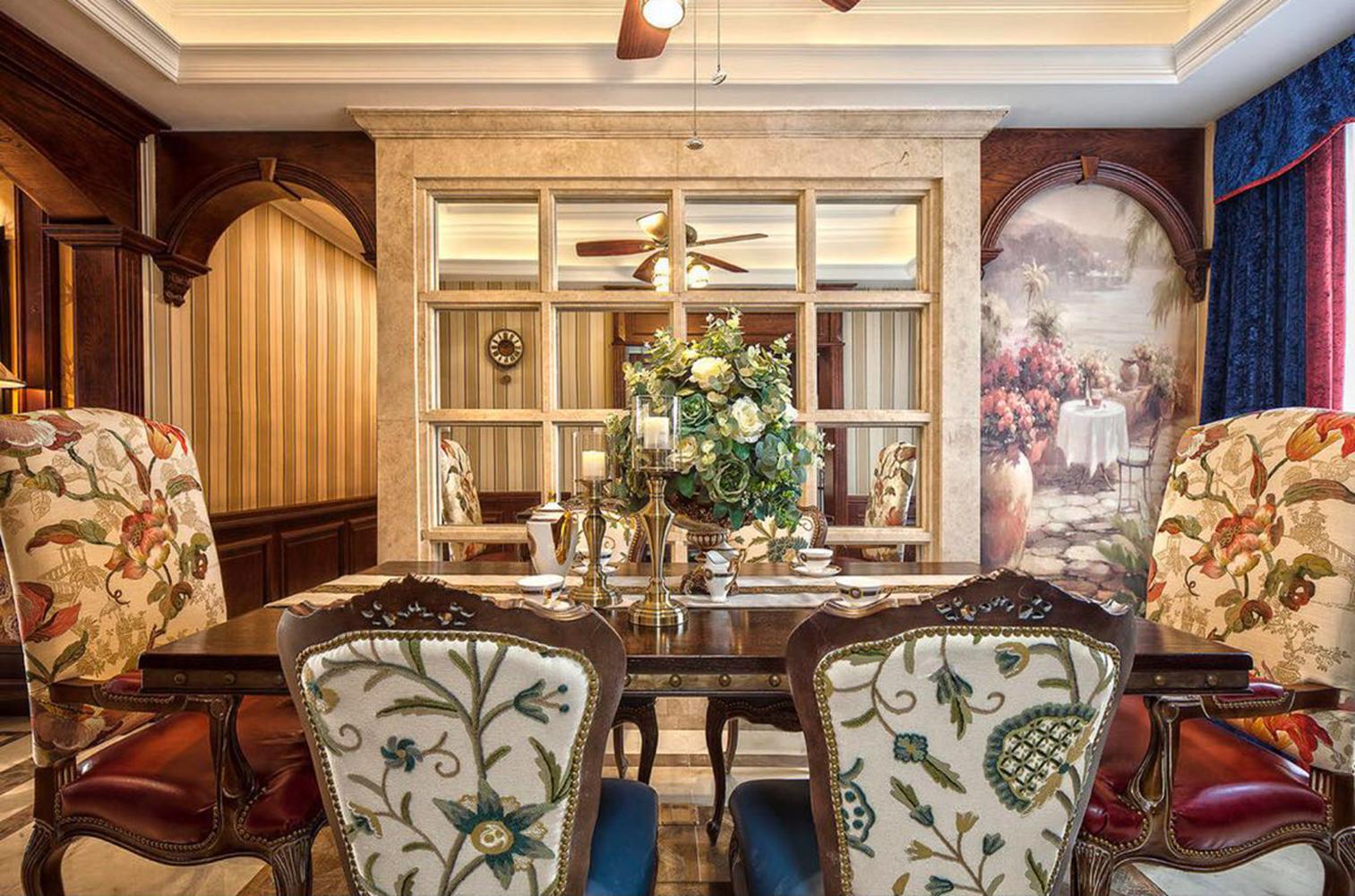 三居室美式装修餐厅背景墙图片