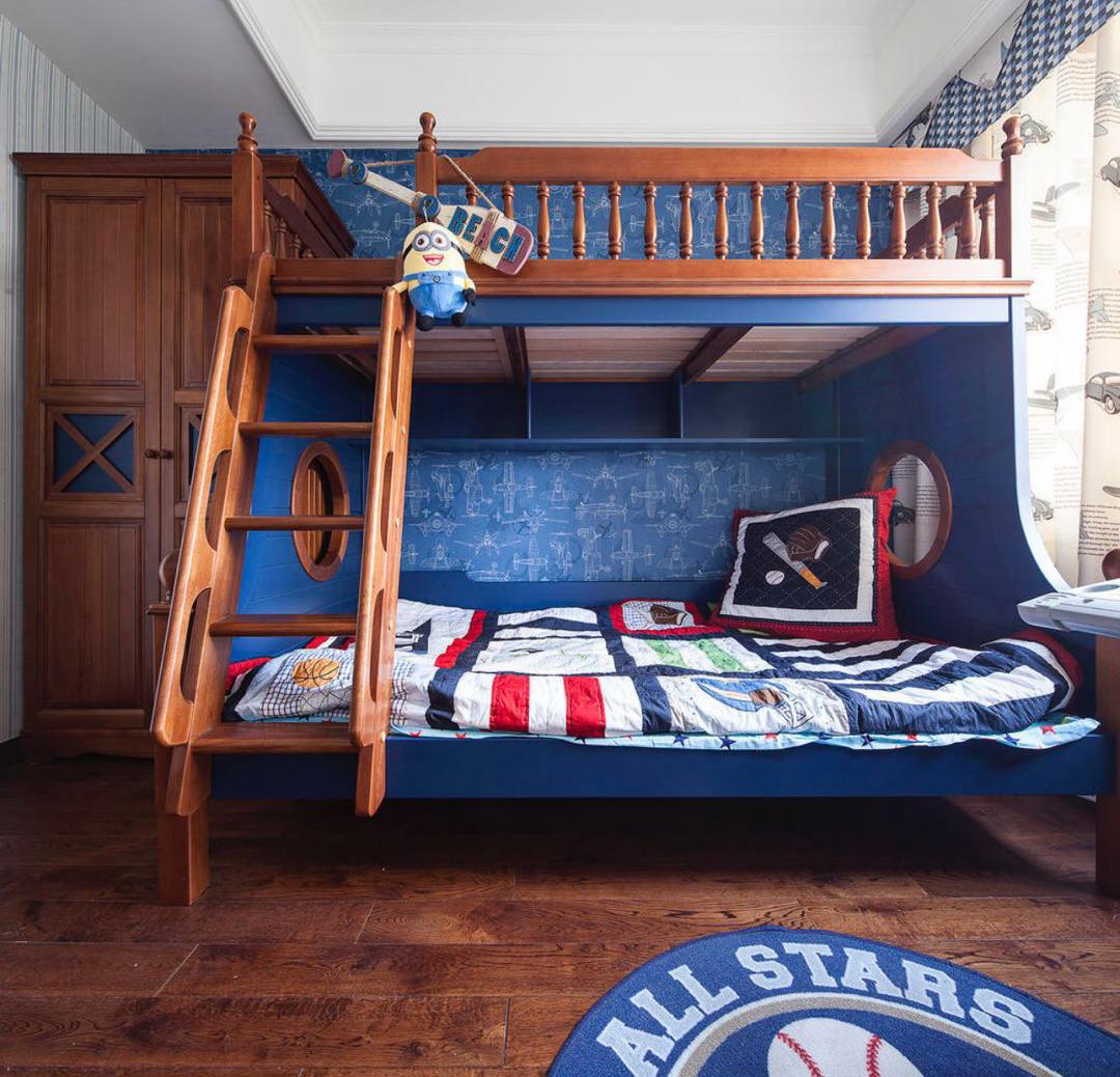 三居室美式装修儿童床图片