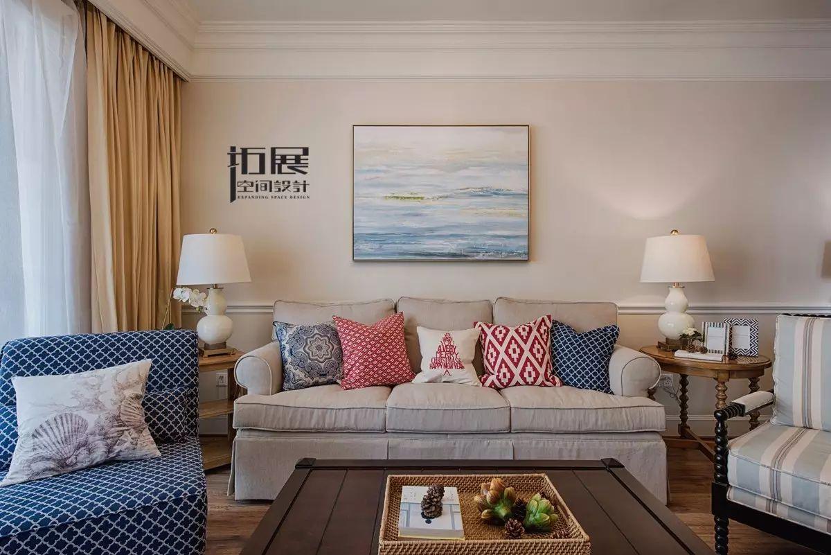 125㎡美式混搭三居沙发背景墙装修效果图