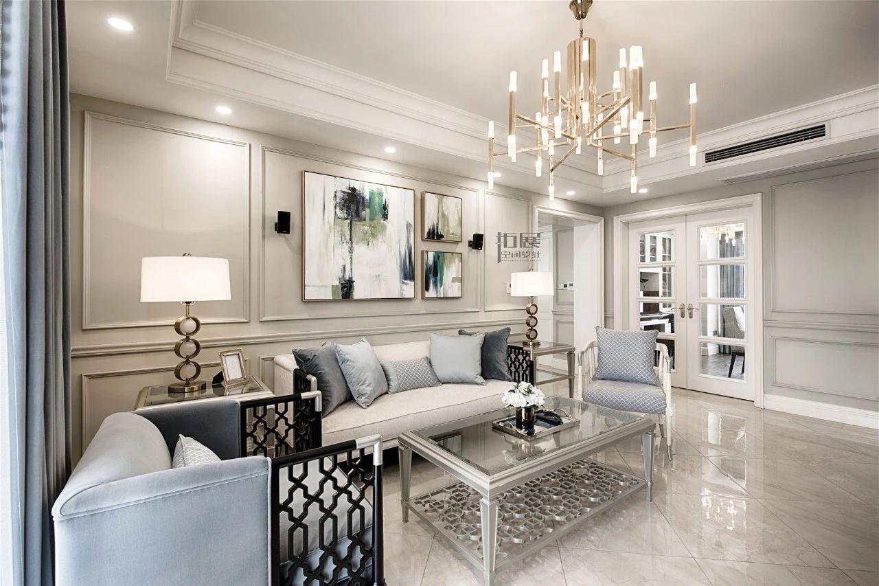 143㎡美式风格客厅沙发墙装修效果图