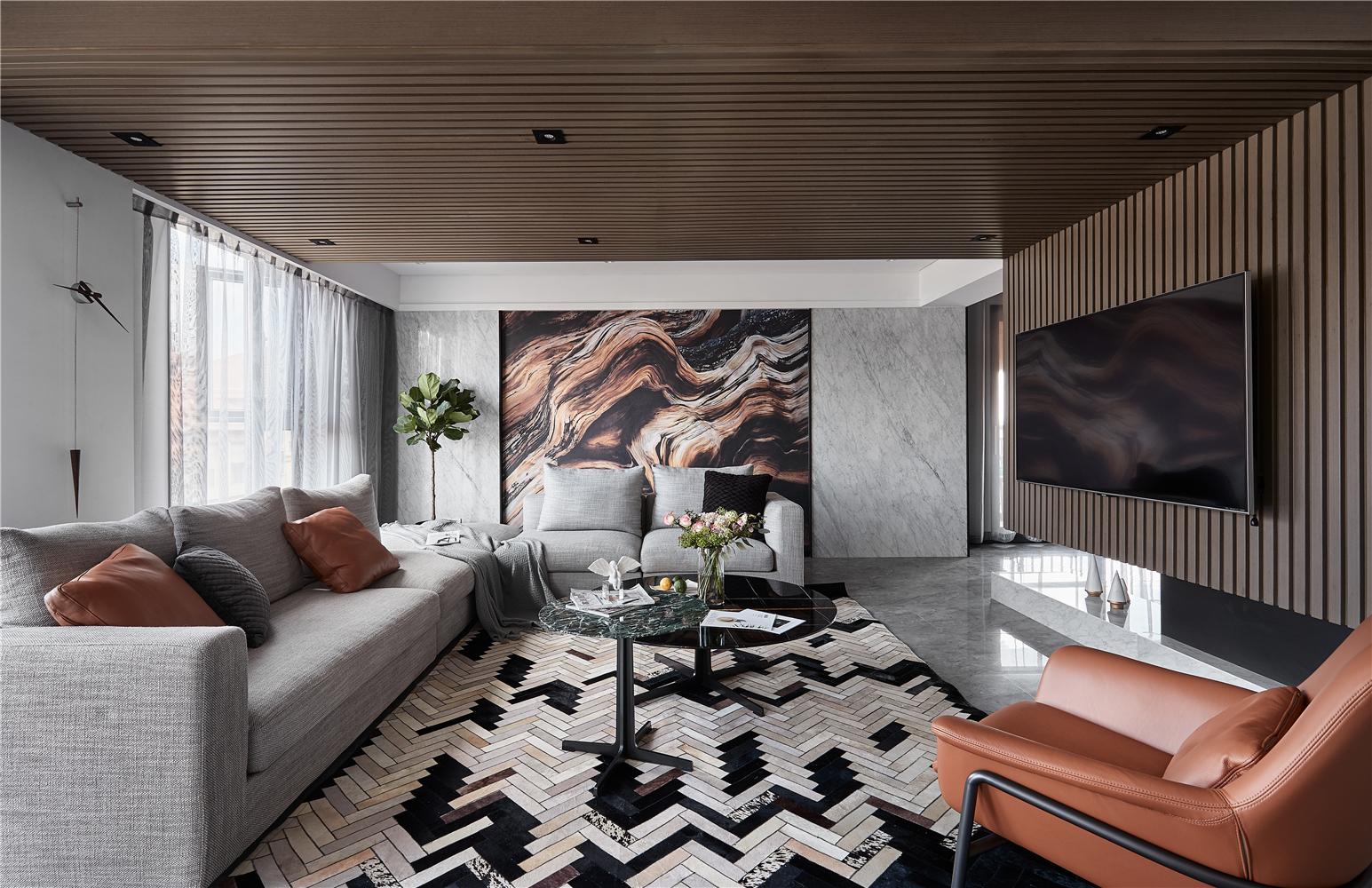现代简约风别墅客厅装修效果图