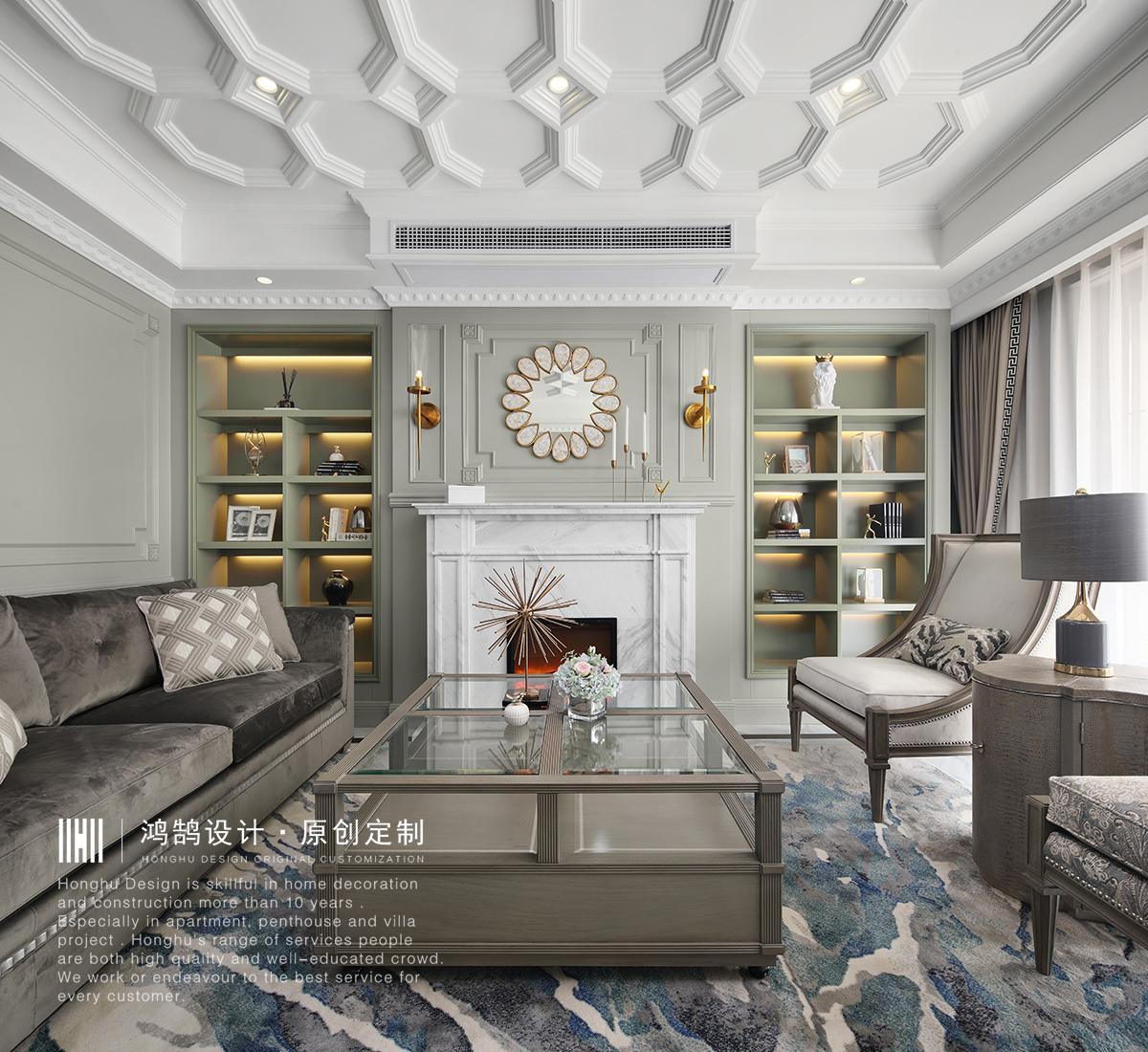 175㎡法式风格客厅装修效果图