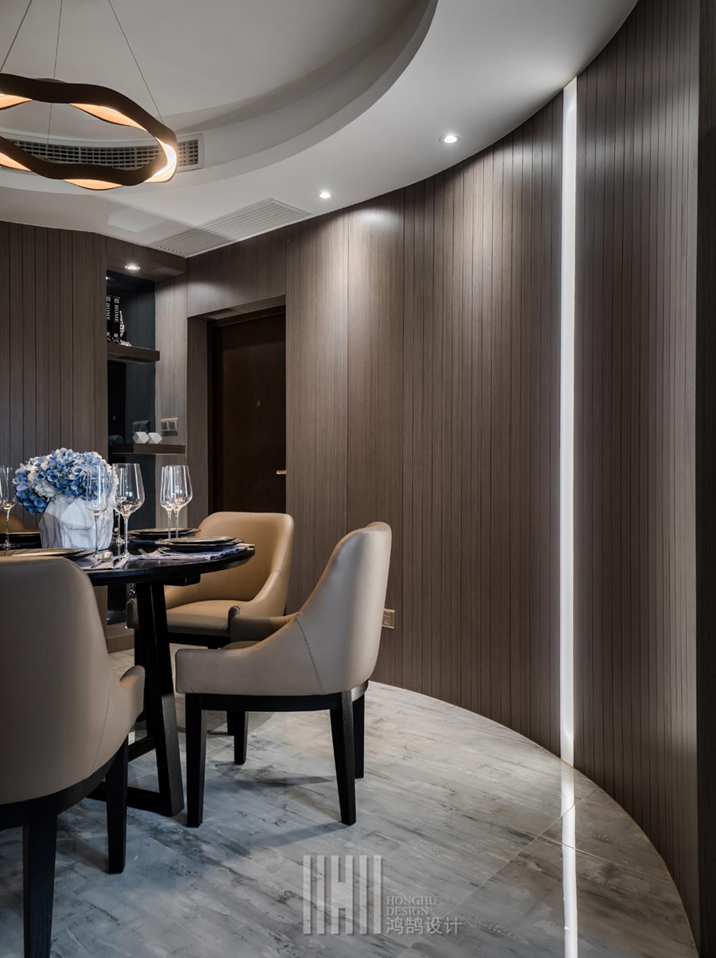 114平现代简约装修餐厅弧形墙面设计