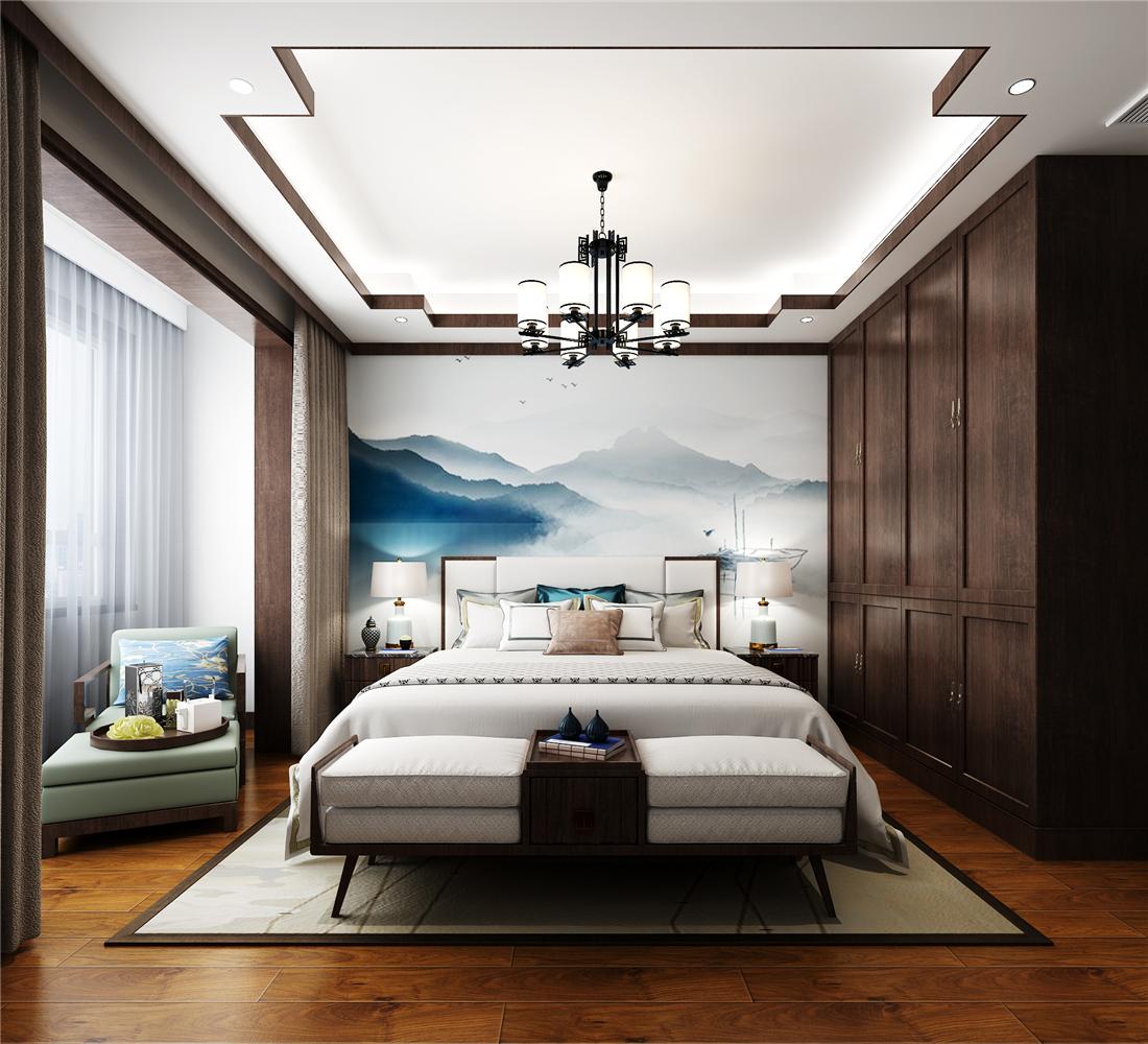 新中式风格三居卧室装修效果图