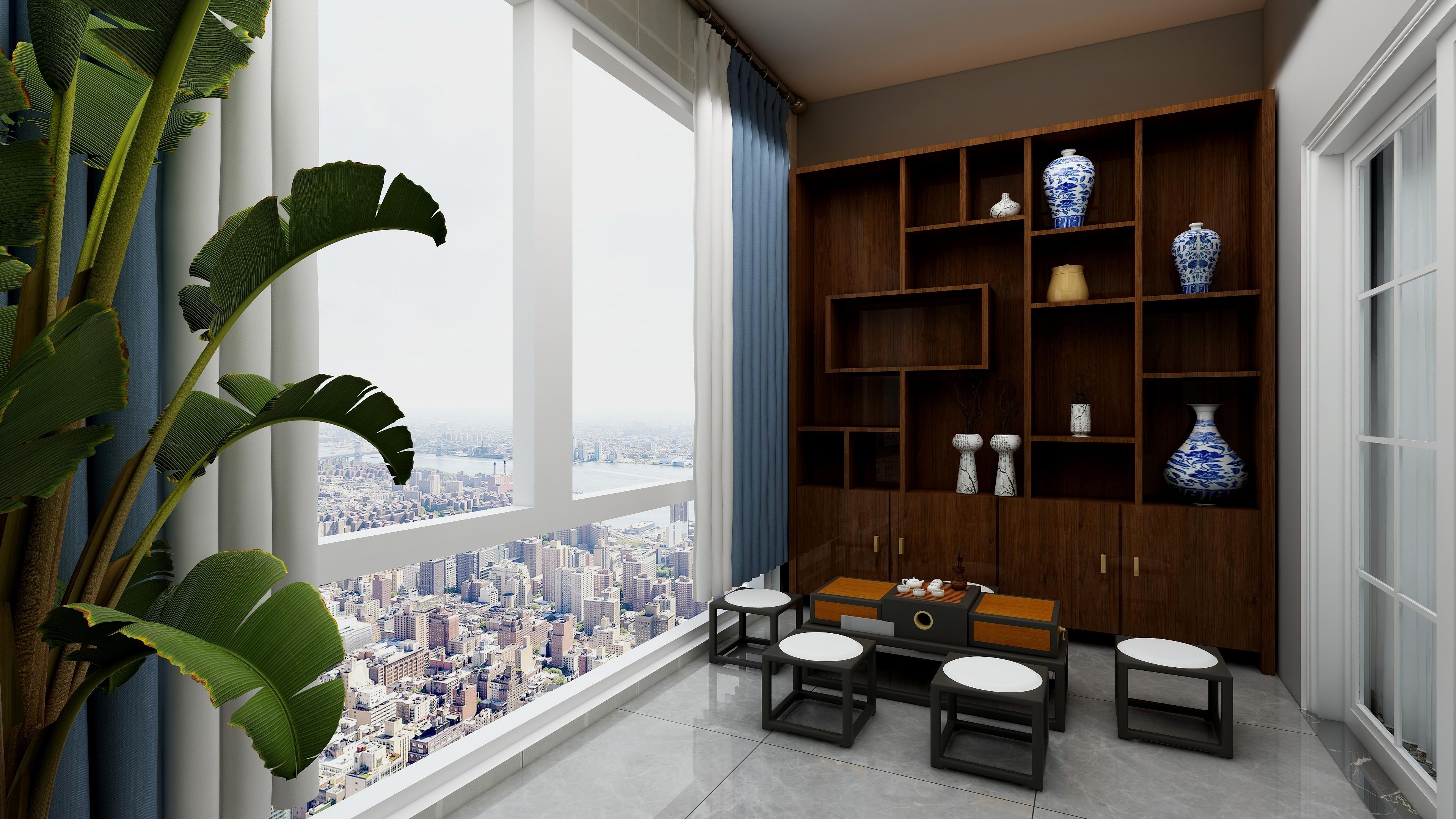 新中式三居装修阳台效果图