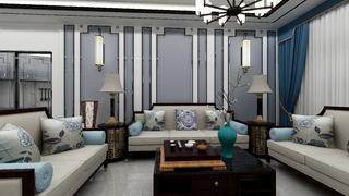 新中式三居沙发背景墙装修效果图