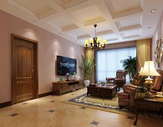 120平美式客厅吊顶装修效果图