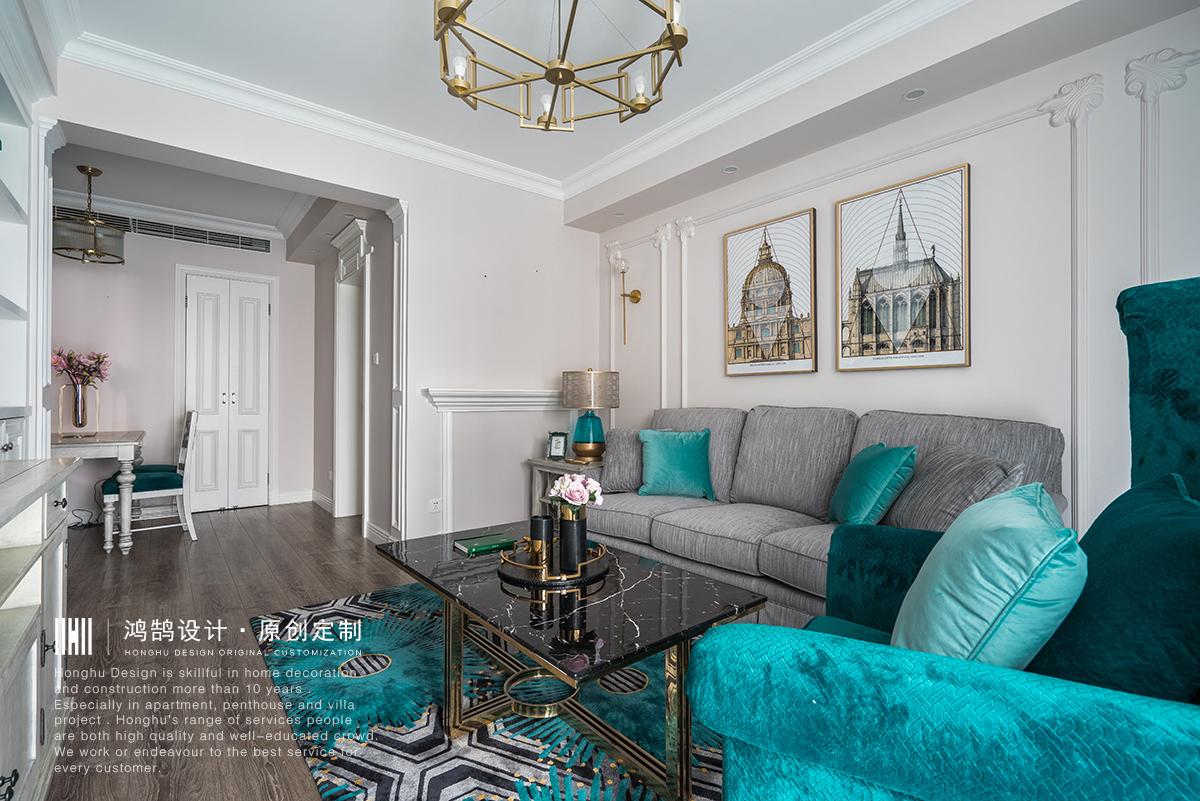 120㎡美式风客厅沙发墙装修效果图