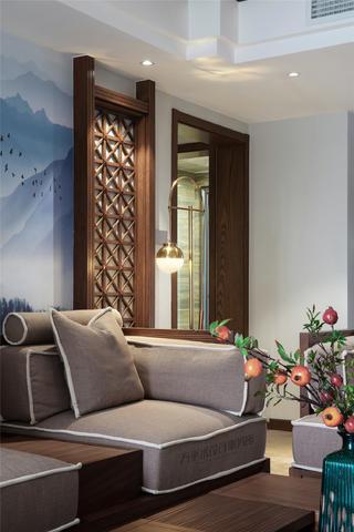 大户型新中式装修沙发一角
