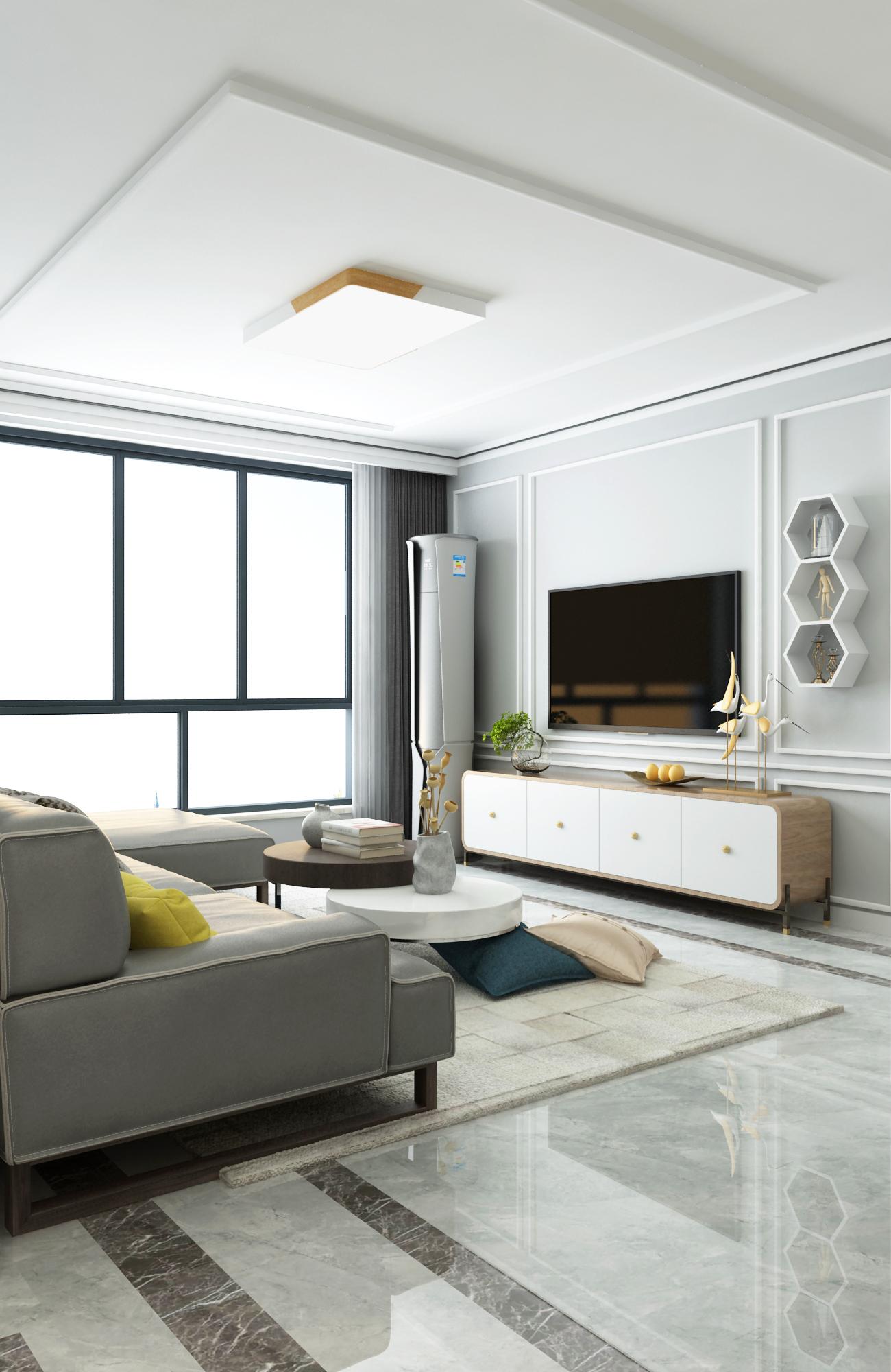 现代简约二居客厅电视墙装修效果图