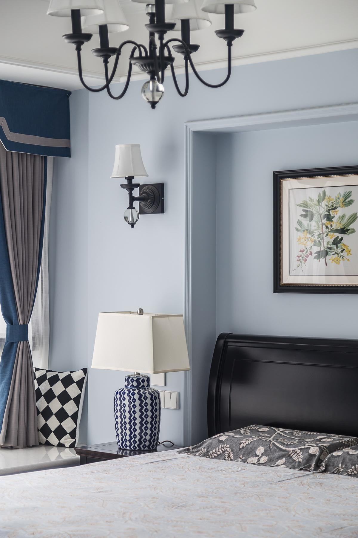美式风格三居装修卧室灯具设计