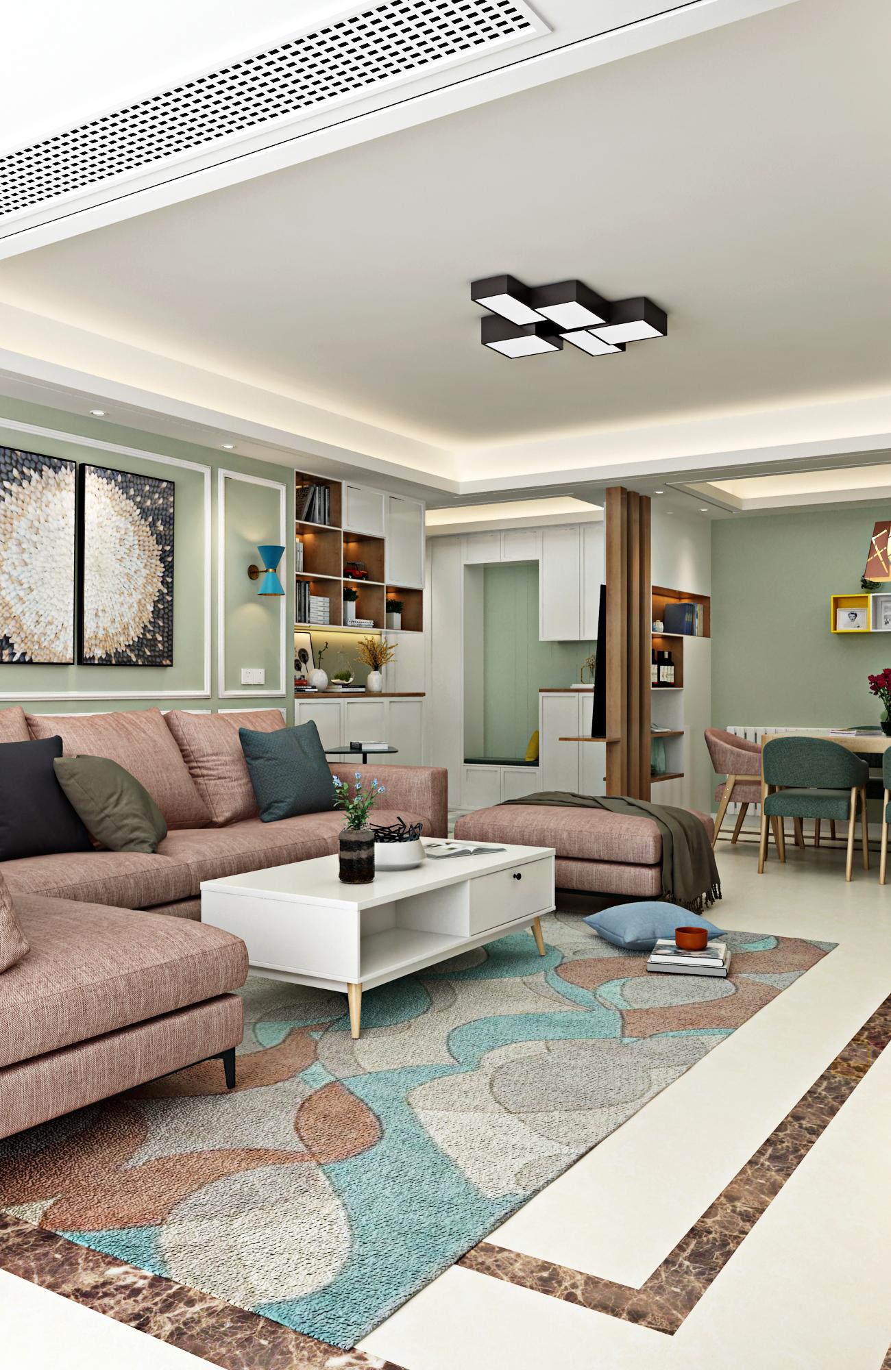现代北欧风格四居客厅吊顶装修效果图