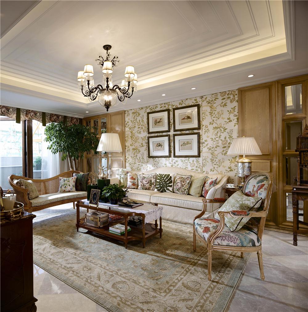 美式田园风别墅客厅沙发背景墙装修效果图