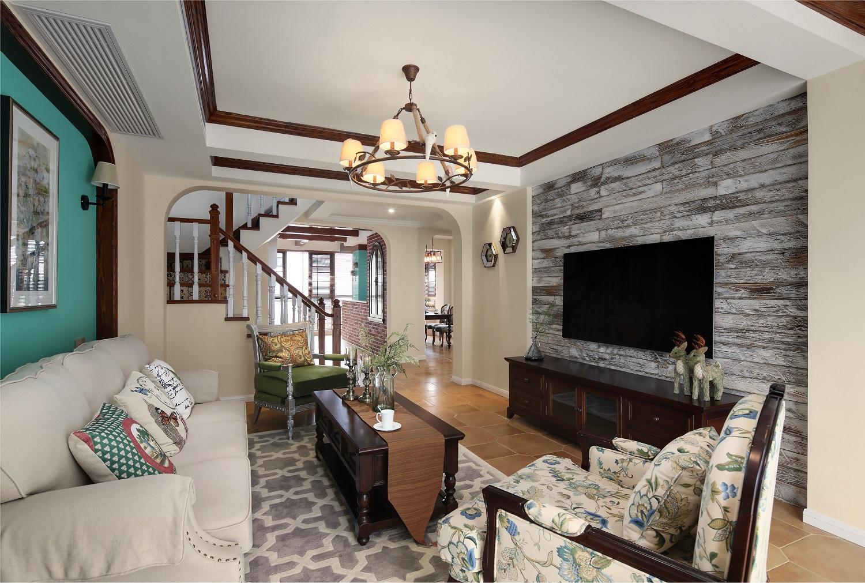 复式美式风格客厅装修效果图