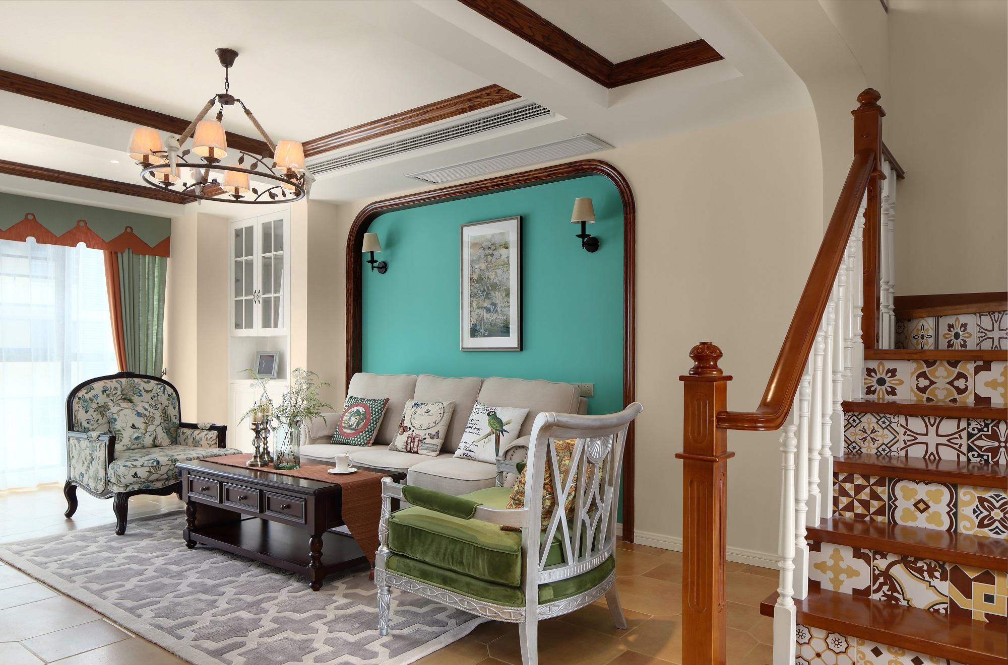 复式美式风格沙发背景墙装修效果图
