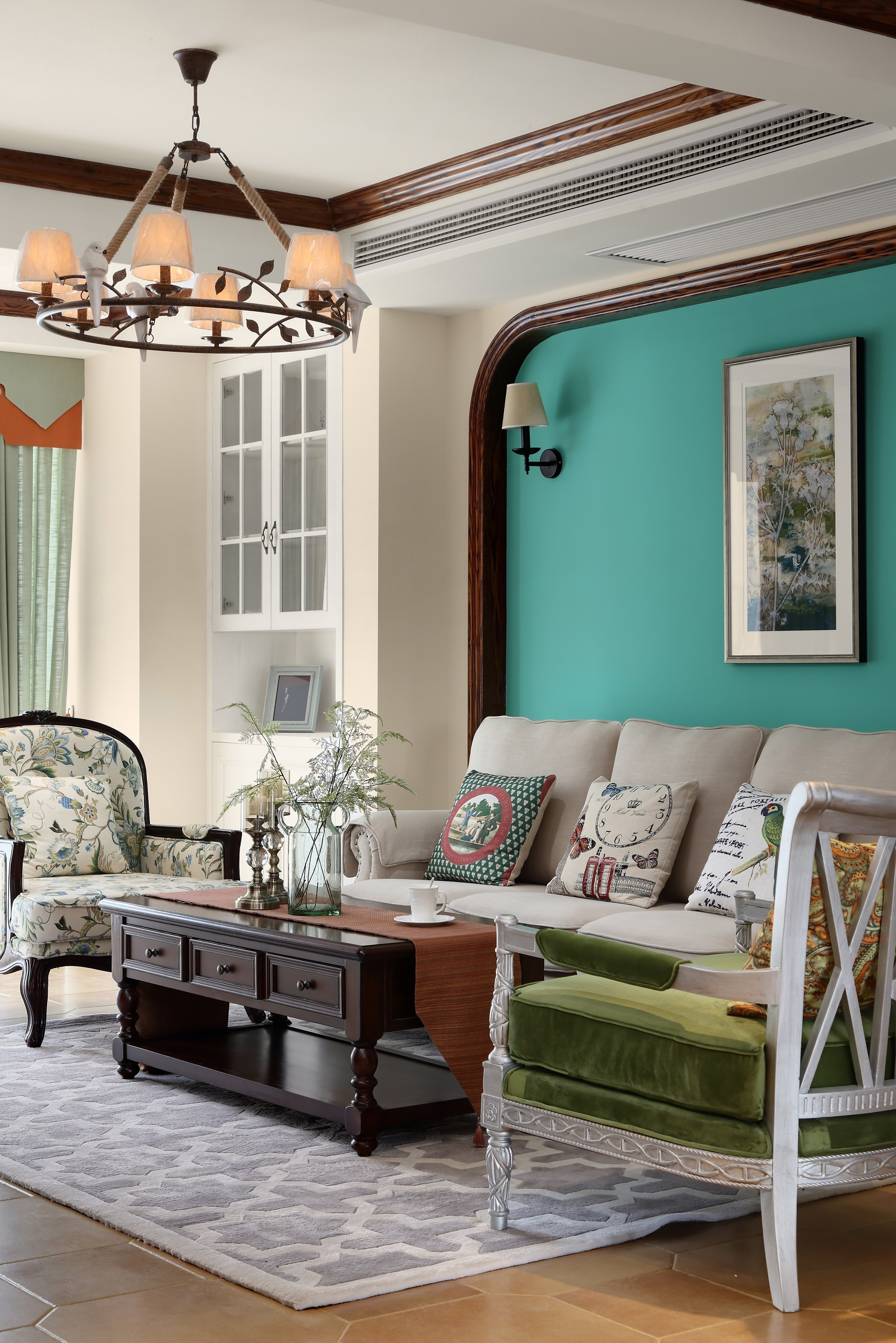 复式美式风格装修客厅吊灯设计