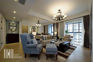 140平美式风格客厅装修效果图