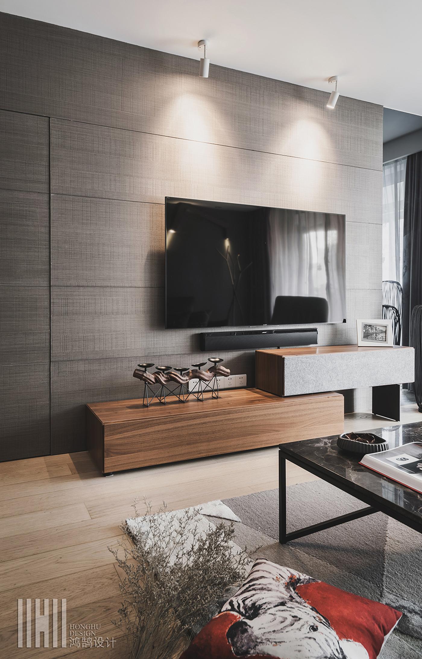 130㎡现代简约风格电视背景墙装修效果图