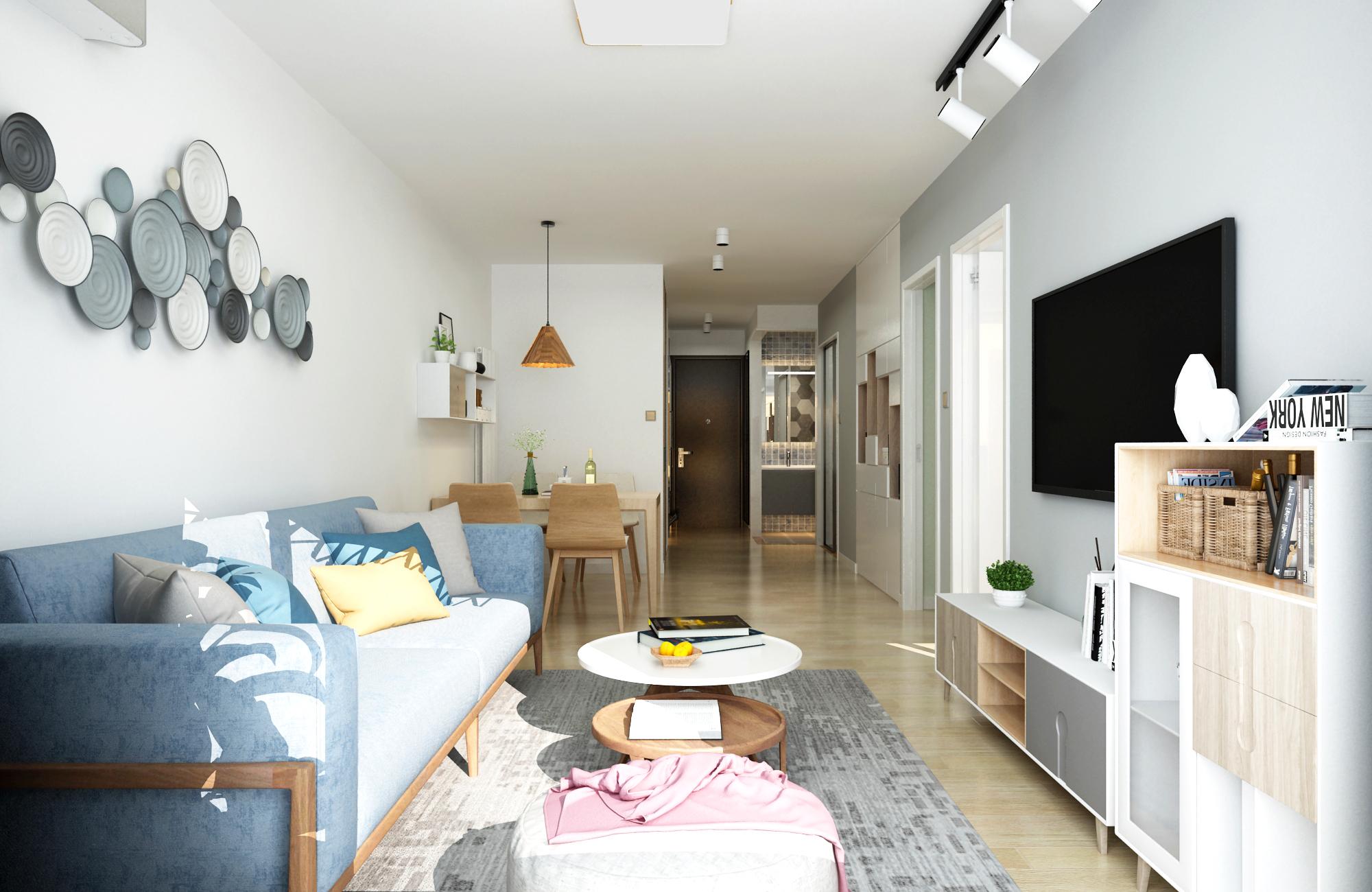 65平米两居室客厅装修效果图