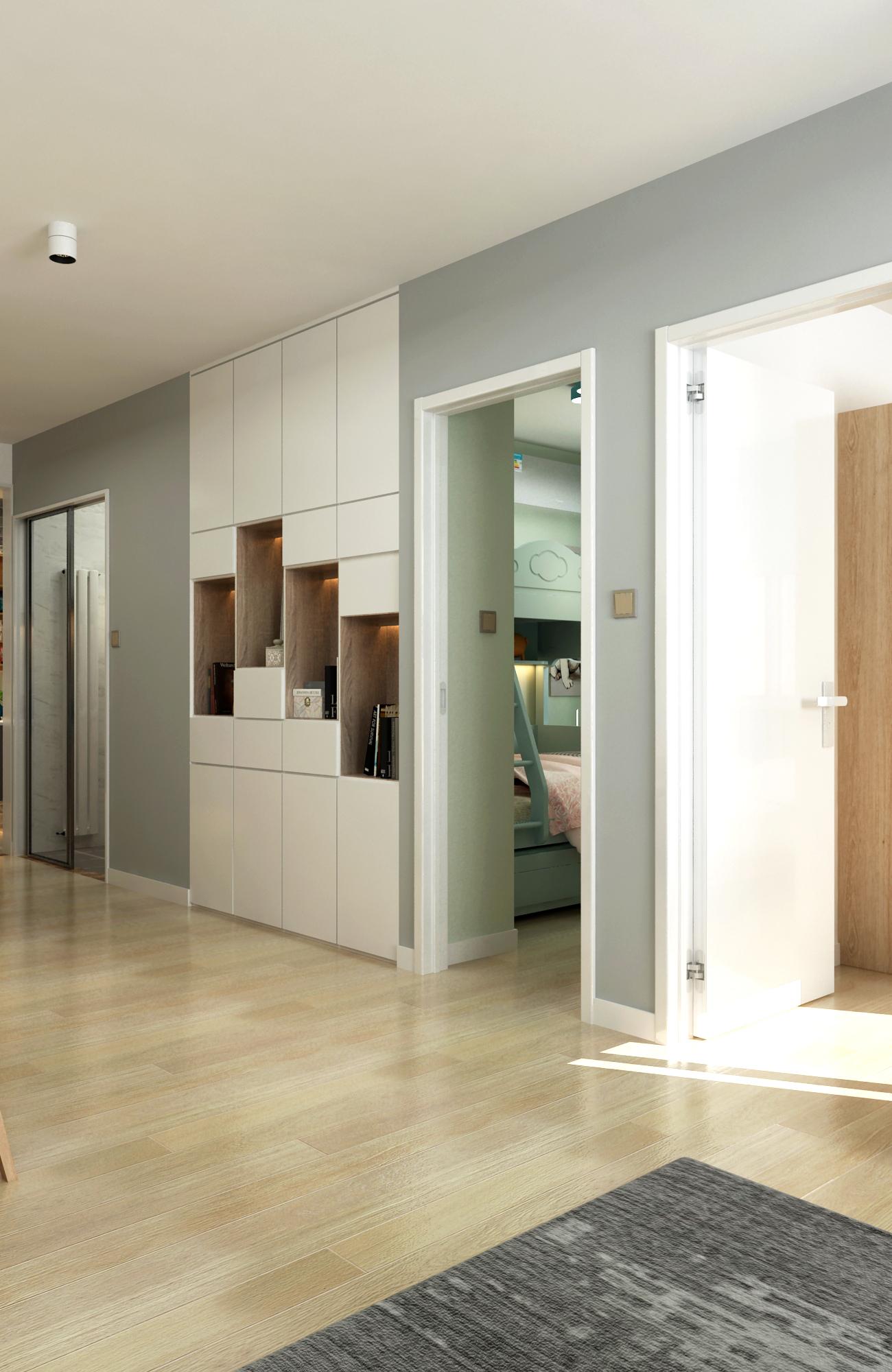 65平米两居室装修收纳展示柜设计