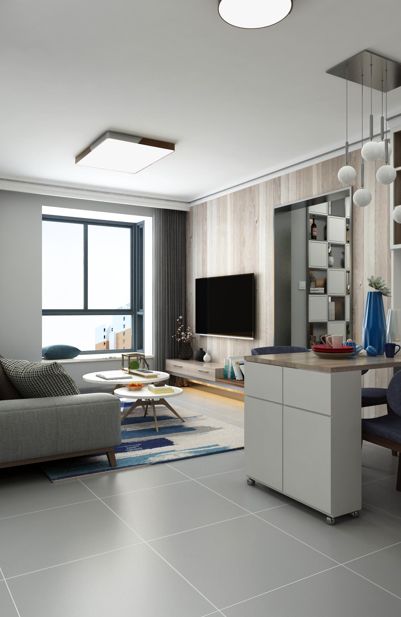 现代风两居电视背景墙装修效果图