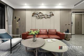 136㎡简约现代三居沙发背景墙装修效果图