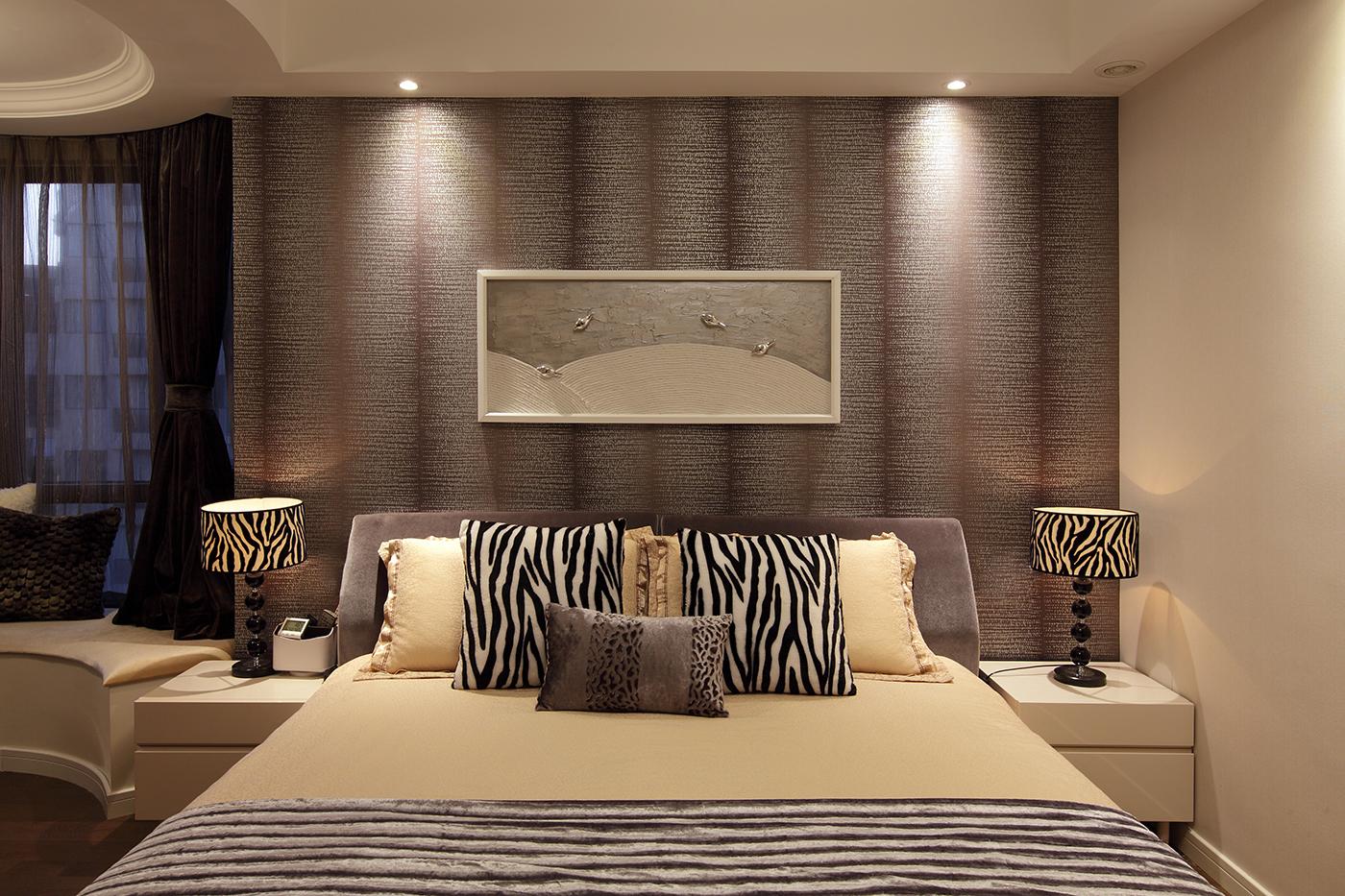 140㎡现代简约卧室背景墙装修效果图