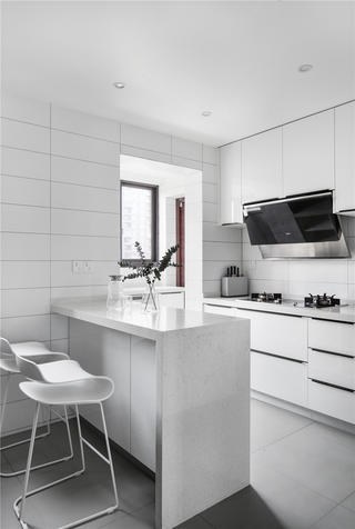 140㎡现代简约风装修厨房吧台设计