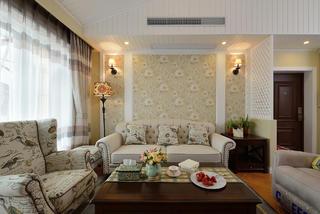 美式风格二居沙发背景墙装修效果图