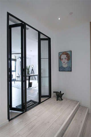 复式北欧风三居装修玻璃折叠门设计