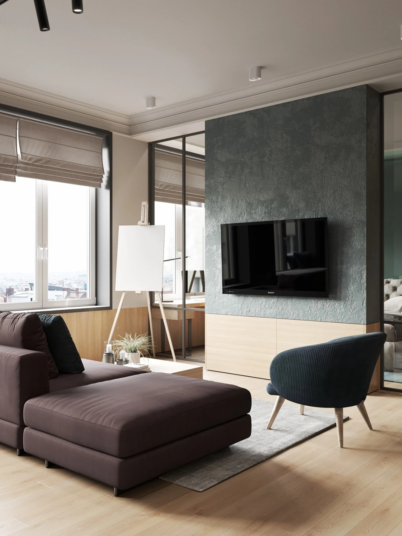 66平米公寓客厅电视墙装修效果图