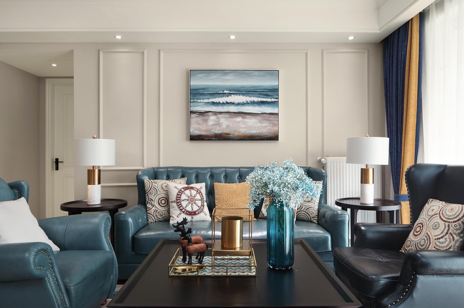 135㎡现代简美风沙发背景墙装修效果图