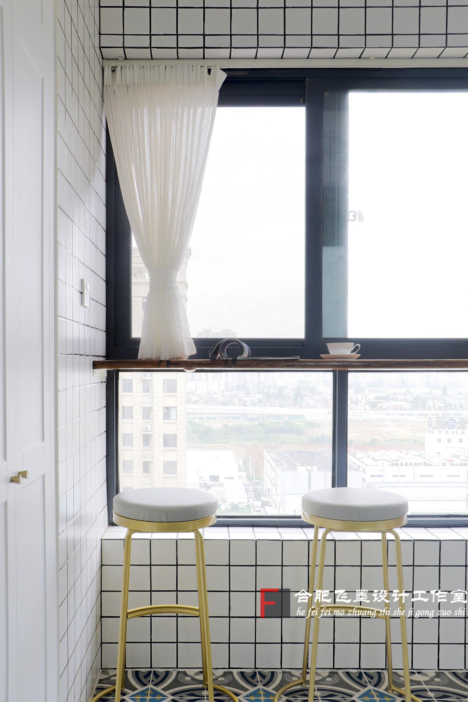 150平现代北欧风装修阳台吧台设计