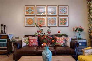 美式田园四居沙发背景墙装修效果图