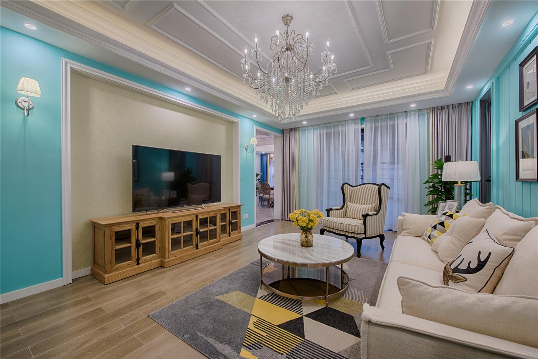 美式混搭三居室客厅电视背景墙装修效果图