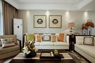 110㎡现代中式装修沙发背景墙图片