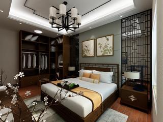 美式复式装修卧室背景墙图片