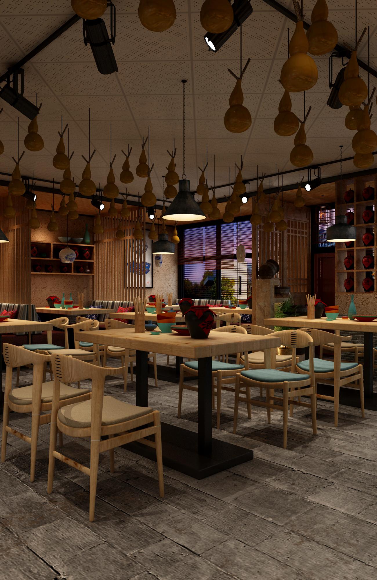 中式小酒馆装修灯饰设计